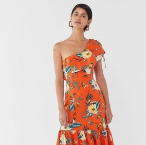 Urban Outfitters Orange One Shoulder Midi Dress, S